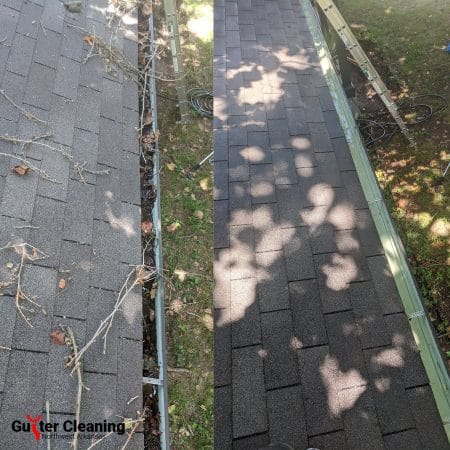 Gutter cleaning in Rogers, Arkansas before & after