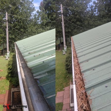 Gutter cleaning in Springdale, Arkansas before and after photos