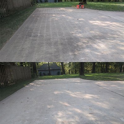 driveway cleaning before and after in Northwest Arkansas